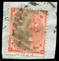 Lot 3564:1862-64 QV Small Uncoloured Corner Letters SG #80 4d pale red, tied to piece by indistinct barred oval cancel.