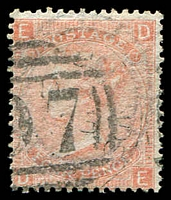 Lot 4126:1865-67 QV Large Uncoloured Corner Letters SG #94 4d vermillion plate no, Cat £100.