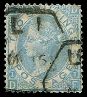 Lot 4128:1867-80 QV Wmk Spray of Rose SG #118 2/- dull blue, Cat £175.
