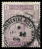 Lot 3797:1883-84 QV High Values SG #178 2/6d lilac, Cat £140, with fine CONTINENTAL NIGHT MAIL cds, apparently only used on the Dover-Calais Boat Train.