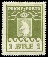 Lot 3716:1915-37 Pakke-Porto Perf 11¼ SG #P4A 1ø green, Cat £47.