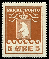Lot 3606:1915-37 Pakke-Porto Perf 11¼ SG #P6A 5ø red-brown, Cat £130.