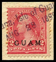 Lot 3744:1899 'GUAM' Ovpts Sc #2 2c Washington, tied to piece by part '[Ag]