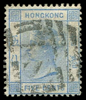 Lot 3932:1880 QV New Colours and Values SG #29 5c blue.