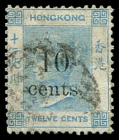 Lot 21046:1880 QV Surcharges SG #25 10 cents on 12c pale blue.