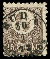 Lot 3760:1871 King Franz Joseph Engraved Issue SG #12a 15K black brown.