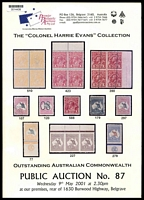 Lot 223:Australia: 2001 The Colonel Harrie Evans Australian Commonwealth Premier Philatelic Auctions catalogue.
