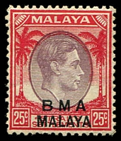 Lot 25473:1945-48 BMA Malaya Overprints SG #13 25c dull purple and scarlet.