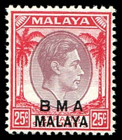 Lot 25474:1945-48 BMA Malaya Overprints SG #13a 25c dull purple and scarlet ordinary paper.