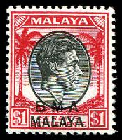 Lot 3917:1945-48 BMA Malaya Overprints SG #15 $1 black and red.