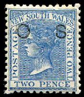Lot 1079:1882-85 Wmk 2nd Crown/NSW Opt 'O1': SG #O21c 2d blue P11x12 Opt OS.