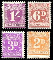 Lot 5865:1940s Stamp Duty No Wmk: 2d, 3d, 6d & 1/-, all MUH. (4)