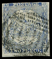 Lot 5694:1850 Sydney Views Plate III SG #30 2d deep blue three good margins.