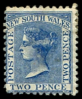 Lot 948:1882-97 Wmk 2nd Crown/NSW SG #225g 2d Prussian blue P11x12.