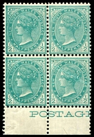 Lot 5605:1899 Chalk-Surfaced Paper Wmk 2nd Crown/NSW Perf 12x11½ SG #298 ½d blue-green marginal block of 4 (2**).