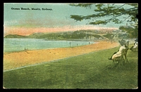 Lot 1398:Manly: - multi-coloured PPC 'Ocean Beach, Manly, Sydney', unused.  PO 1/4/1857.