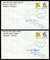 Lot 6564:North West: Peck #1NW11b pair of covers with adhesives cancelled by TPO 1 NTH WEST Up and the other down. (2)