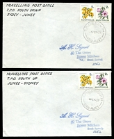 Lot 6568:South: Peck #1S22a pair of covers with adhesives cancelled by TPO 1 South 3 Up and the other down. (2)