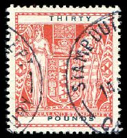 Lot 4437:1940-58 Arms: £30 red fiscally used.