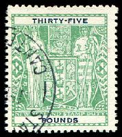 Lot 4186:1940-58 Arms: £35 green fiscally used.
