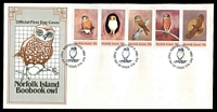 Lot 4267:1984 Boobook Owl strip of 5 tied to illustrated FDC by Norfolk Island cds 17 JULY 1984, unaddressed.