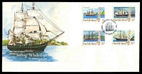 Lot 4125:1985 Sailing Whaleships set tied to illustrated FDC by Norfolk Island cds 19 FEB 1985, unaddressed.