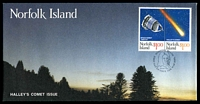 Lot 4264:1986 Halley's Comet Se tennent pair tied to illustrated FDC by Norfolk Island cds 11 MAR 1986, unaddressed.