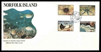 Lot 4263:1986 Marine Life set tied to illustrated FDC by Norfolk Island cds 14 JAN 1986, unaddressed.