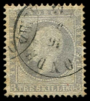 Lot 27025:1856-60 King Oscar I SG #6 3sk lilac, Cat £95.