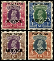 Lot 27046:1947 KGVI Overprints: SG #O10-3 1r to 10r. (4)