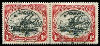 Lot 26423:1906-07 Optd Small 'Papua' SG #39 1d black & carmine pair, used in 1909.