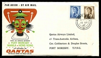 Lot 27291 [1 of 2]:1967 Hong Kong - Papua New Guinea AAMC #1610 Illustrated Qantas cover with adhesives tied by Hong Kong cds 15SP67.