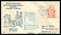 Lot 4088:1952 Golden Jubilee Education System illustrated FDC with 5c tied by Manila cds Jan 31 1952.