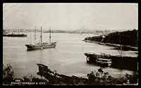 Lot 359 [1 of 2]:Australia - New South Wales: Black & white PPC 'Sydney Harbour & City' real photo with four masted sailing ship in foreground.
