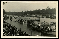 Lot 79:Australia - Victoria: Black & white PPC' Henley 1911' showing view of boating regatta on the Yarra river, real photo.
