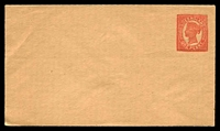 Lot 7645:1895 QV Sideface No Numerals Void Background HG #KB2 1d orange red on buff stock.