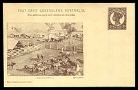 Lot 1649:1898 QV Sideface Views With 2 Line Heading HG #10 1d chocolate on buff with scene 'A Queensland Station' with horses in foreground.