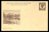 Lot 1507:1898 QV Sideface Views With 2 Line Heading HG #10 1d chocolate on buff with scene 'Barron River, Cairns'