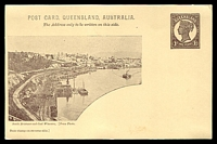 Lot 1150:1898 QV Sideface Views With 2 Line Heading HG #10 1d chocolate on buff with scene 'South Brisbane and Coal Wharves'.