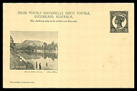 Lot 1651:1898 QV Sideface Views With 2 Line Heading HG #11 1½d chocolate on buff with scene 'Barron River, Cairns', few minor blemishes.