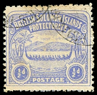 Lot 4369:1907 Large Canoes SG #1 ½d ultramarine.