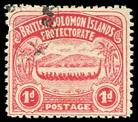 Lot 27467:1907 Large Canoes SG #2 1d rose-carmine.