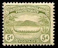 Lot 4618:1908-11 Small Canoes SG #12 5d olive.