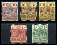 Lot 4619:1913 KGV Postage Postage SG #18-21 set incl both 3d values. (5)