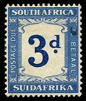 Lot 4389:1932-42 Redawn Wmk Multi Springbok SG #D28w 3d deep blue & blue wmk upright.