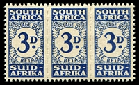 Lot 4662:1943-44 Small Design SG #D33 3d indigo unit of 3.