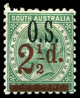 Lot 2069:1891-95 Surcharges: SG #O71 2½d on 4d green Optd 'OS'.