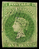 Lot 8811:1856-58 Imperf Adelaide Printing SG #6 1d yellow-green three clear margins, Cat £650.