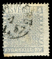 Lot 25603:1855-58 SG #2c 4sk grey-blue.