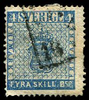 Lot 4189:1855-58 SG #2a 4sk blue, Cat £120.